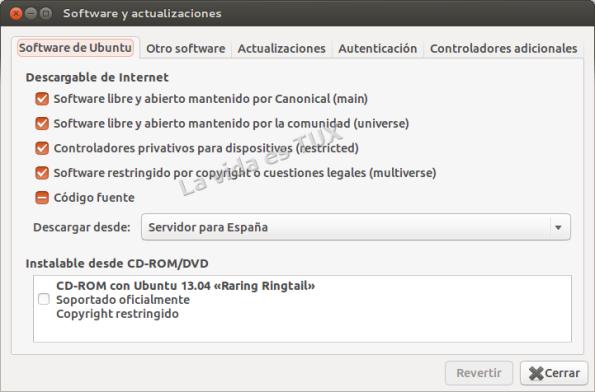 Software y actualizaciones_Software de Ubuntu
