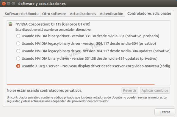 Software y actualizaciones 14.04_Controladores adicionales